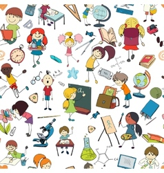 Kids school sketch seamless pattern vector image