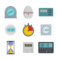 Kitchen timer icons set flat style vector