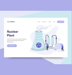 Landing page template of nuclear plant concept vector