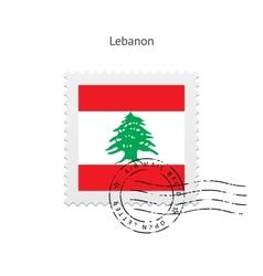 Lebanon Flag Postage Stamp vector