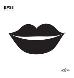 Lips Black Icon Isolated vector