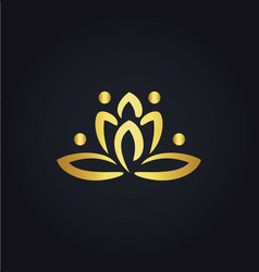 Lotus flower abstract gold logo vector