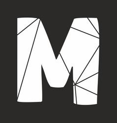 M white alphabet letter isolated on black vector