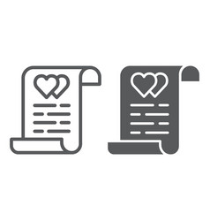 Marriage contract line and glyph icon document vector