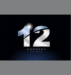 metal blue number 12 logo company icon design vector image