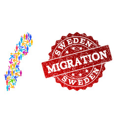 Migration collage of mosaic map of sweden and vector