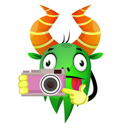 monster photographer holding a camera on white vector image