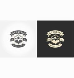 mountain camping logo emblem outdoor landscape vector image