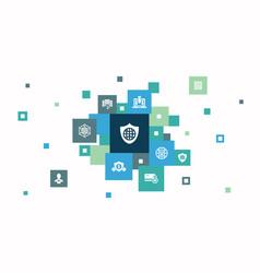 Network security infographic 10 steps pixel design vector