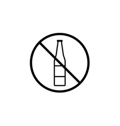 No alcohol line icon prohibition sign forbidden vector
