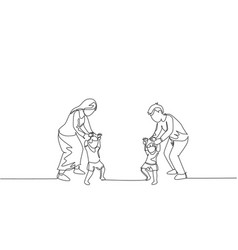 One single line drawing young parents teaching vector