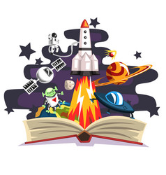 Open book with rocket astronaut planets stars vector