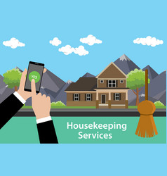 order housekeeping services apps with smartphone vector image