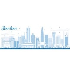 Outline Shenzhen Skyline with Blue Buildings vector
