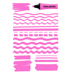 Pink dashed and wavy highlight lines and squares vector