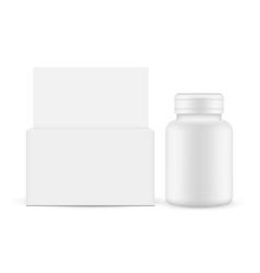 plastic bottle for medicines with paper box front vector image