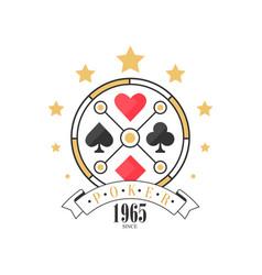 poker logo since 1965 vintage emblem for poker vector image