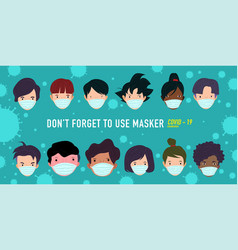 Printa group people using masker preventing vector