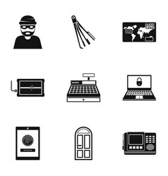 prowler icons set simple style vector image