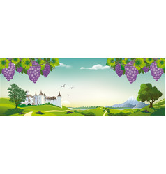 realistic landscape with bunches of grapes and an vector image