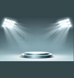 Round podium illuminated spotlighs vector