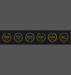 royal brand golden laurel wreath label set vector image