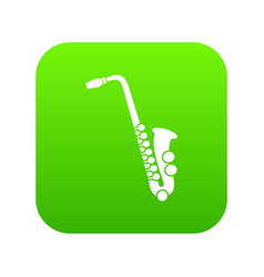 saxophone icon digital green vector image