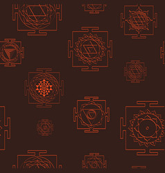 seamless pattern with yantra symbols vector image
