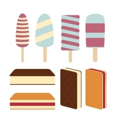Set a variety of delicious fresh ice cream vector image