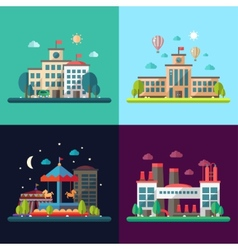 Set of modern flat design conceptual city vector