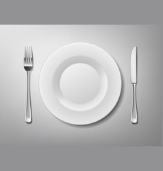 set of stainless steel cutlery of fork knife and vector image
