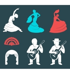 Set Silhouettes and Signs Flamenco vector