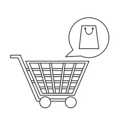 shopping cart and bag bubble in black and white vector image
