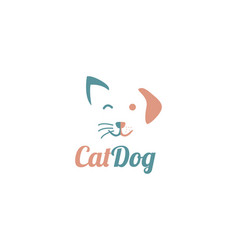 simple cute dog and cat face for pet store vector image