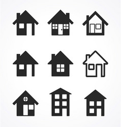 Simple house icons set vector
