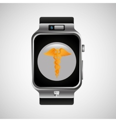 smart watch caduceus wearable healthy vector image