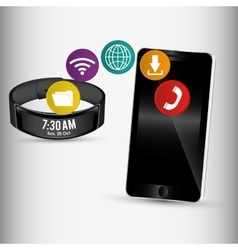 Smartphone and smart wristband sharing application vector