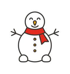 snowman color icon vector image