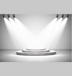 spotlights scene light effects podium vector image