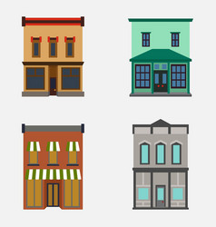 store shop front window buildings color icon set vector image vector image