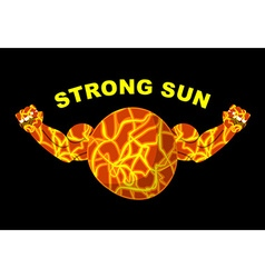 Strong sun planet bodybuilder with big muscles vector