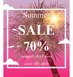 Summer sale card palm tree pink vector