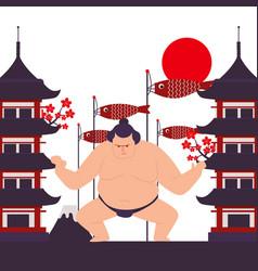Sumo fighter in japan vector