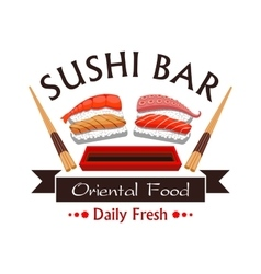 Sushi bar menu card design emblem vector image