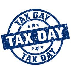 Tax day blue round grunge stamp vector