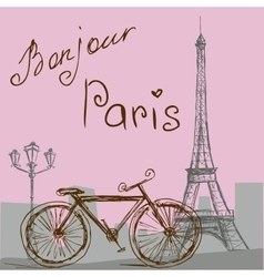 The poster with the bike in vintage style vector image