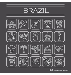 Thin line icons Brazil 2 vector image