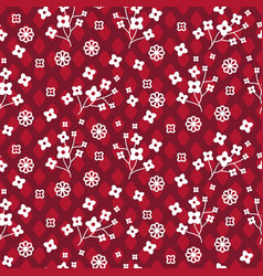 tiny red color floral seamless simple vector image