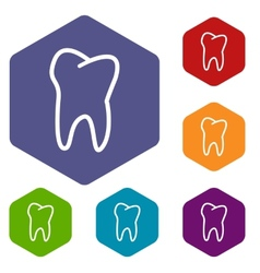 Tooth rhombus icons vector image