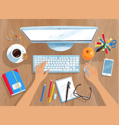top view of workplace vector image